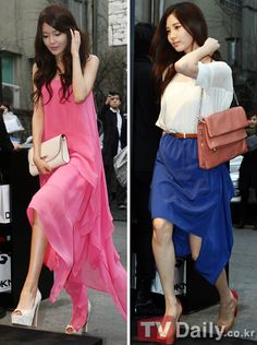 #Sooyoung and #Seohyun attend DKNY 2012 SS fashion show:  I love what Sooyoung's wearing even though pink is my least favourite colour