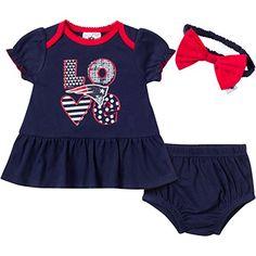 0650dcbeb45 NFL New England Patriots Girls Dress, Panty & Headband Set Piece), Months,  Navy 60 percent percent Poly Interlock