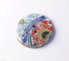 Spring Collection - Huge Ceramic Art Button  - Asian Abstraction  - 2 hole hand made
