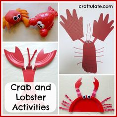These crab and lobster activities include water play, paper plate crab and lobster, handprint crab and a footprint/handprint lobster. Craft Activities For Kids, Toddler Activities, Preschool Activities, Crafts For Kids, Ocean Activities, Kindergarten Science, Vocabulary Activities, Lobster Crafts, Paper Plate Crab
