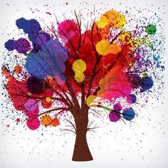 abstract background, tree with branches made of watercolor drops. photo