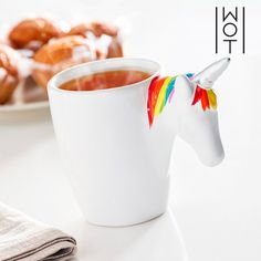 Wagon Trend Unicorn Mug with Handle Tasse Thermos, Best Breakfast, Ceiling Lamp, Handle, Tableware, Gifts, Code Promo, Parfait, Products