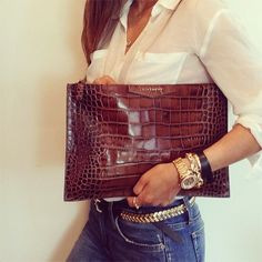 White Blouse & Jeans with Clutch & Great Accessories!
