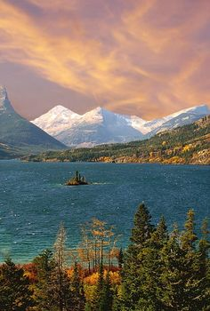 Saint Mary Lake, Montana. Saint Mary Lake is the second largest lake in Glacier National Park, in the U. S. state of Montana [and is central to some traditional Blackfeet/Pikuni mythic stories] JE.