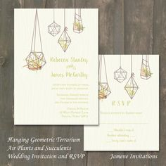 Nature Inspired Hanging Geometric Terrariums with Air Plants and Succulents Wedding Invitation and RSVP Cards