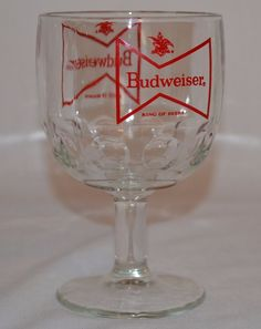 Budweiser King of Beers Glass Thumbprint Beer Goblet Vintage - Bowtie Red Logo #Budweiser