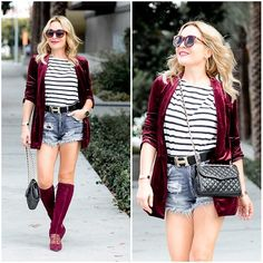 Get this look: http://lb.nu/look/8844681  More looks by Zia Domic: http://lb.nu/huntercollector  Items in this look:  J.Crew Striped Top, Pour La Victoire Suede Boots, Zara Denim Shorts   #chic #classic #edgy #fallstyle #stripes #velvet #boots