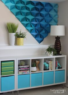 Renter-Friendly 3D Paper Wall Art, im so gonna make this!