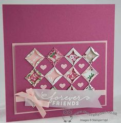 handmade card from The Crafty Owl: Love Blossoms Quilted Circles Card ... luv the tonal colors ... cute little punched hearts form a pattern in plain squares ... luv it!