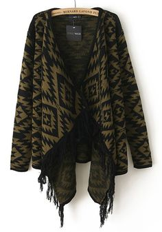 Army Green Khaki and Black Geometric Tassel Long Sleeve Knit Cardigan