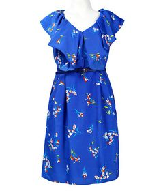 Look what I found on #zulily! Royal Blue & White Floral Belted Angel-Sleeve Dress #zulilyfinds