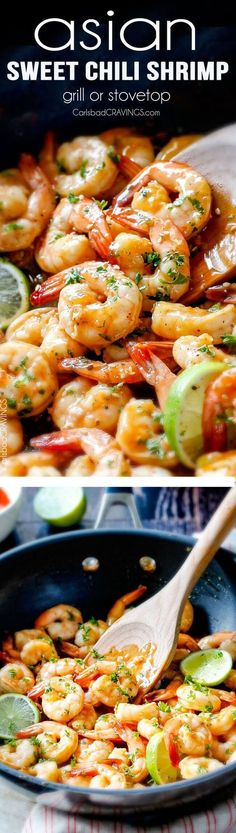 quick and easy Asian Sweet Chili Shrimp (grill or stovetop) - this is by far my favorite shrimp recipe! The tangy sweet heat sauce is incredible and its SO easy! 10 minute prep, 5 minutes to cook! via /carlsbadcraving/