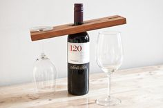 Wine & Glass Wood Stand Bar In Natural Cedar by natemadegoods
