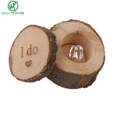 Caixa DO anel de casamento de madeira eu faço original ecológico artesanato em madeira belas lettering fontes DO casamento de jóias decoração foto adereços