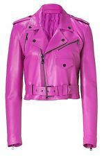 NEW CUSTOMISED SOFT LAMBSKIN PINK WOMENS LEATHER JACKETS BIKER MOTORCYCLE JACKET
