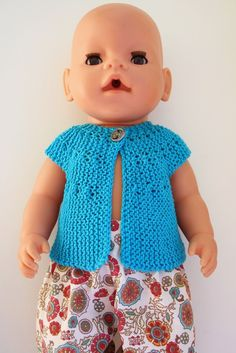 Min Dukkeverden: Vest til Babyborn - oppskrift Baby Born Clothes, Doll Toys, Dolls, Knit Crochet, Crochet Hats, Stuffed Toys Patterns, Diy Clothes, Knitting Patterns, Barbie