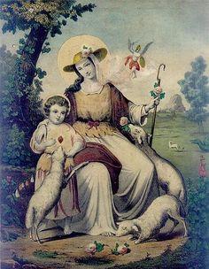 Divina Pastora de las Almas. Litografía en el Libro de Reglas de la Hermandad de la Divina Pastora de Santa Ana (Triana, Sevilla, España).