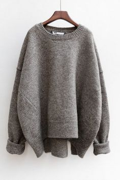 Grey Plain Split Round Neck Fashion Pullover Sweater