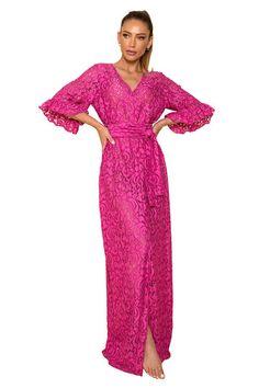 Saída de Renda Lane Pink - MOS Brazilian Beachwear Ideias Fashion, Dresses With Sleeves, Long Sleeve, Fitness, Pink, Ruffles, Sash Belts, Beachwear Fashion, Lace
