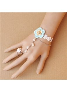 Godess Vintage Fashion White Lace Flower Bracelet with Ring