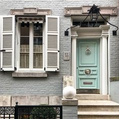 "Habitually Chic®️️ (@habituallychic) on Instagram: ""If you've seen my Stories, then you know I had a busy day downtown. Gorgeous New York City architecture. Love the detailing and the mint green door! And of course, the #greekkey detailing."