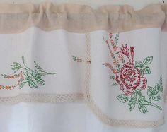 Vintage Embroidery Valance, Upcycle Needlework, Rose Window Valance, Repurpose Dresser Scarf, Retro Kitchen Window Curtains