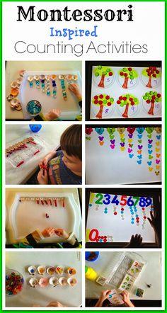 Montessori inspirado ideias de contagem