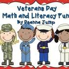 Veteran's Day Math and Literacy Activities {Aligned with Common Core} by Deanna Jump - This Veterans Day unit includes an original song/book honoring soldiers, poetry journal cards, art project, writing activities, math journal prompt...