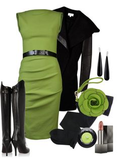 """""""Green and Black"""" by missteacherlady ❤ liked on Polyvore"""