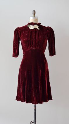 1930s silk and velvet dress