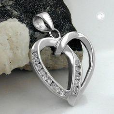 Anhänger, Herz, 14 Zirkonias, Silber 925  Oberfläche anlaufgeschützt rhodiniert