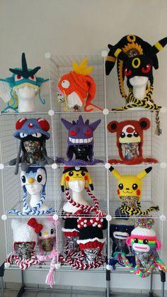 Pokemon Crochet Pattern, Crochet Patterns Amigurumi, Crochet Afghans, Crochet Blankets, Crochet Stitches, Crochet Hood, Crochet Cap, Crochet Beanie, Double Crochet
