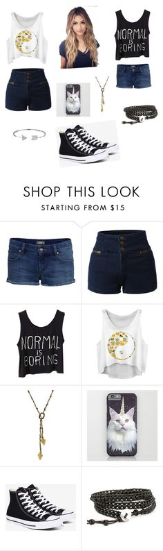 """""""Untitled #36"""" by kittyblossom ❤ liked on Polyvore featuring IDA, LE3NO, 1928, Converse, Bling Jewelry, jeanshorts, denimshorts and cutoffs"""