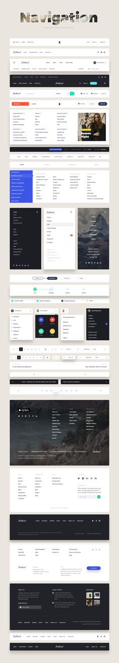 Buy Portland UI Kit by craftworkdesign on GraphicRiver. Portland – perfect, elegant and bright UI Kit. It combines beauty and usability and it is definitely the tool you nee. Intranet Design, Navigation Design, Footer Design, Graphisches Design, Web Ui Design, User Interface Design, Layout Design, Website Design, Website Layout