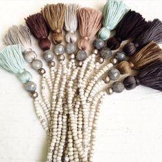 Image of Love Bead Necklace - Soft Cream Beads, Labradorite, Tassel #100297
