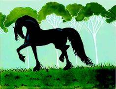 #Friesian #horse #art #painting