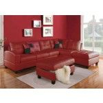 Acme Furniture - Kiva 2 Piece Right Facing Bonded Leather Sectional Sofa Set in Red - 51185B-87B-SEC