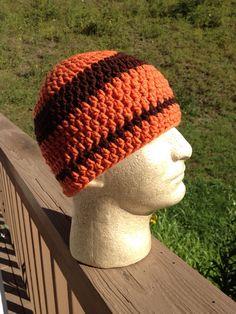 Skullcap, Beanie, orange and brown on Etsy, $18.00