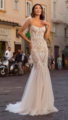 berta 2020 privee bridal sleeveless spaghetti strap square neckline full embellishment bustier elegant mermaid wedding dress backless low back medium train mv -- Berta Privée 2020 Wedding Dresses Backless Mermaid Wedding Dresses, Elegant Wedding Dress, Best Wedding Dresses, Mermaid Dresses, Designer Wedding Dresses, Elegant Dresses, Bridal Dresses, Vintage Dresses, Trumpet Wedding Dresses