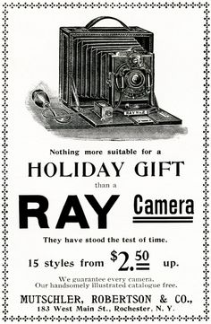 This vintage advertisement is from the Christmas 1898 issue of Harper's magazine. I love the gorgeous antique camera featured in the ad! Click on image to enlarge.