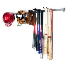 Large Baseball Rack by Monkey Bars by Monkey Bars Storage. $69.99. Lifetime Warranty. Holds 10 Bats, Gloves, Helmets, Baseballs. Hooks slide on bar for easy adjust ability. Installs in 15 min.. Steel Components all powder coated. Baseball Bat Rack by Monkey Bars is the most versatile rack on the market. This is great for storing your family's baseball and softball gear in an orderly fashion. The Monkey Bar Baseball Rack can hold 12 bats, gloves, helmets, and catc...