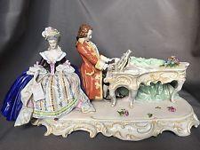 Fine Lg Antique German Porcelain Kister Dresden Group Lady Man Piano Figurine