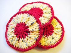 Crochet Scrubbies Red and Yellow Polka Dot Set by CozyKitchenKnits