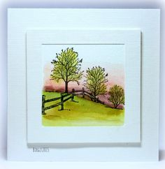 """CC512 Trees. Biggan at SCS has used Serendipity Stamps """"Winter Fenceline"""" to create a beautiful countryside scene."""
