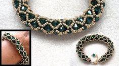 Best Seed Bead Jewelry 2017 : Netted bracelet with Swarovski and seedbeads beading tutorial Beaded Bracelets Tutorial, Seed Bead Bracelets, Seed Bead Jewelry, Beaded Jewelry, Beaded Necklace, Handmade Jewelry, Seed Beads, Jewellery, Silver Jewelry