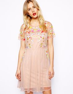 Asos Smock Dress with Embellished Flowers in Orange (Peach)