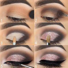 Step by Step Pink Glitter Eye Makeup Tutorial - Make-up Anleitung - Maquillaje Eye Makeup Steps, Smokey Eye Makeup, Eyeshadow Makeup, Makeup Brushes, Makeup Tips, Makeup Ideas, Beauty Makeup, Makeup Remover, Makeup Geek