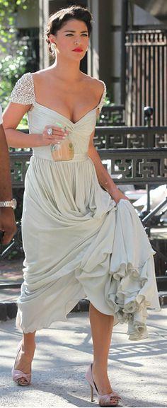 Vanessa Floor Length Chiffon Evening Dress Gossip Girl Season 3 Celebrity Dress