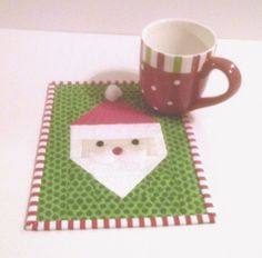 Quilted Santa Mug Rug Digital Pattern Christmas Themes, Christmas Crafts, Christmas Mug Rugs, Santa Mugs, Fabric Postcards, Small Quilts, Place Mats, Potholders, Digital Pattern