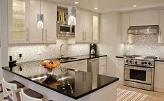 white cabinets backsplash ideas | Tile Backsplash White Cabinets Black Countertops